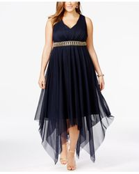 b6bbd3fcbe7 Betsy   Adam. Women s Blue Plus Size Embellished High-low Cocktail Dress