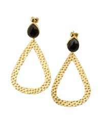 Wendy Mink - Black Onyx And Pebbled Gold Teardrop Earrings - Lyst