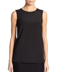 St. John | Black Knit-trim Silk Tank | Lyst