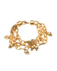 Alexander McQueen - Metallic Skull Charm Bracelet - Lyst