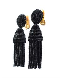 Oscar de la Renta | Black Beaded Short Tassel Clip Earrings | Lyst