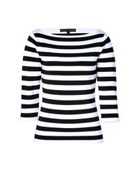 9367c02c94 Lyst - Ralph Lauren Black Label Striped Boatneck Top in Blackwhite ...
