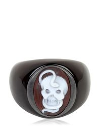 Amedeo - Black Memento Mori Snake & Skull Cameo Ring for Men - Lyst