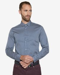 Ted Baker - Blue Ls Geo Diamond Print Shirt for Men - Lyst