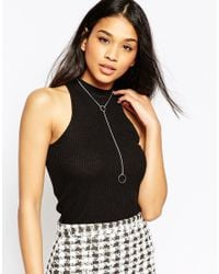 ASOS | Metallic Open Circle Y Necklace | Lyst