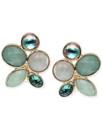Jones New York | Gold-tone Faceted Green Stone Clip-on Earrings | Lyst