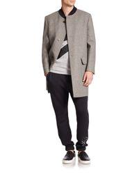 MSGM - Gray Banded Collar Overcoat for Men - Lyst