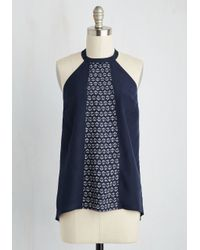 ModCloth | Blue Current Events Top | Lyst
