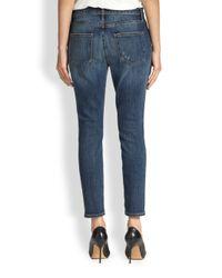 Current/Elliott - Blue The Stiletto Distressed Cigarette Jeans - Lyst