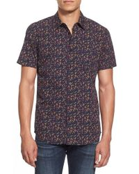 RVCA | Blue 'early On' Slim Fit Short Sleeve Sport Shirt for Men | Lyst