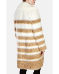 Karen Millen | Brown Striped Faux Fur Coat | Lyst