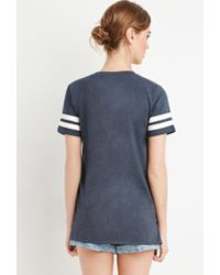 Forever 21 - Blue Varsity-striped Tee - Lyst