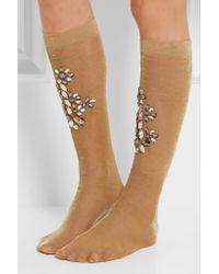 Dolce & Gabbana - Crystal-embellished Metallic Knitted Socks - Lyst
