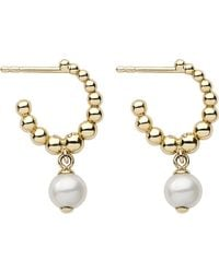 Links of London | Metallic Effervescence White Pearl 18ct Gold Hoop Earrings | Lyst