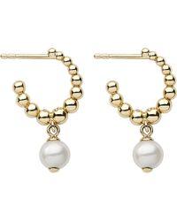 Links of London | Metallic Effervescence White Pearl 18ct Gold Hoop Earrings | Lyst