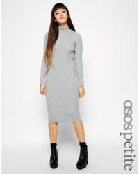 ASOS - Gray Petite Exclusive Fine Ribbed Jumper Dress - Lyst