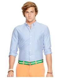 Polo Ralph Lauren | Blue Striped Cotton Interlock Mercer Shirt for Men | Lyst