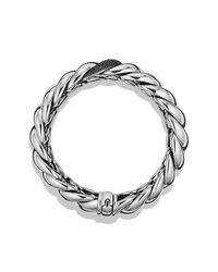 David Yurman | Metallic Hampton Cable Narrow Bracelet With Diamonds | Lyst