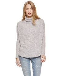 Two By Vince Camuto | Gray Slub Knit Drop Shoulder Turtleneck | Lyst