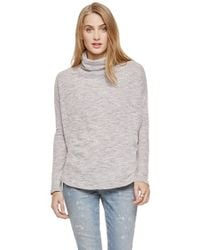 Two By Vince Camuto - Gray Slub Knit Drop Shoulder Turtleneck - Lyst