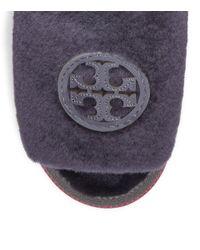 Tory Burch - Purple Shearling Logo Slide - Lyst