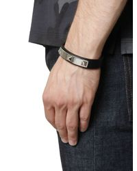 Valentino - Black Rhodium Studs On Leather Bracelet for Men - Lyst