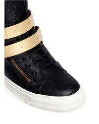 Giuseppe Zanotti - Black 'london' Metal Plate Ski Buckle Sneakers - Lyst