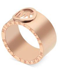 Michael Kors | Pink Rose Gold-Tone Logo Band Ring | Lyst