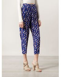 Stella McCartney - Blue Charlotte Printed Silk Tapered Pants - Lyst