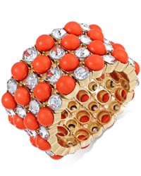 INC International Concepts | Pink Gold-tone Coral Bead And Crystal Stretch Bracelet | Lyst