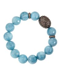 Bavna | Champagne Diamond Blue Agate Beaded Bracelet | Lyst
