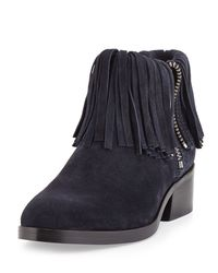 3.1 Phillip Lim - Blue Alexa Fringed Suede Ankle Bootie - Lyst