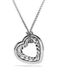 David Yurman - Metallic Cable Heart Medium Pendant With Gold On Chain - Lyst