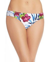 Tommy Bahama | White 'happy Hibiscus' Shirred Hipster Bikini Bottoms | Lyst