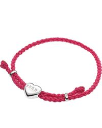 Links of London | Purple Feed Heart Cord Bracelet | Lyst