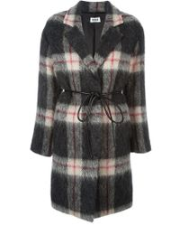 Sonia by Sonia Rykiel - Black Belted Checked Coat - Lyst