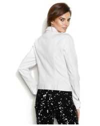 Vince Camuto - White Two By Zip-Front Moto Denim Jacket - Lyst