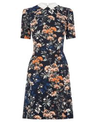Oasis - Multicolor Floral Collar Shift Dress - Lyst
