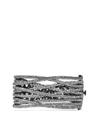 CZ by Kenneth Jay Lane - Metallic Cubic Zirconia Pavé Criscross Cuff - Lyst