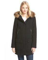 Vince Camuto Black Faux Fur Trim Hooded Wool Blend Duffle Coat