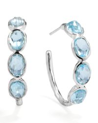 Ippolita | Metallic Silver Blue Topaz Hoop Earrings | Lyst