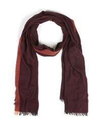 Paul Smith - Purple Burgundy Heringbone Lambswool Scraf - Lyst