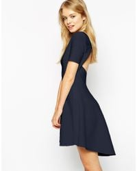 ASOS | Blue Skater Dress In Texture With Cut Out Back | Lyst