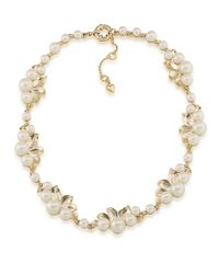 Carolee | Metallic Peach Blossom Graduated Faux Pearl Necklace | Lyst