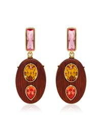 Oscar de la Renta - Brown Crystal & Wood Earrings - Lyst