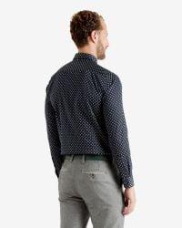 Ted Baker - Blue Belgym Printed Shirt for Men - Lyst