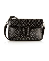 Alaïa - Black Double Pocket Small Embellished Leather Shoulder Bag - Lyst