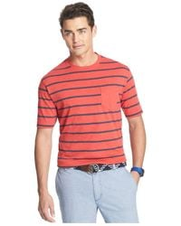 Izod - Red Striped Pocket T-Shirt for Men - Lyst