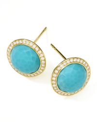 Ippolita | Blue Gold Rock Candy Lollipop Diamond Turquoise Stud Earrings | Lyst