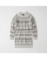 Abercrombie & Fitch - Gray Fair Isle Sweater Dress - Lyst
